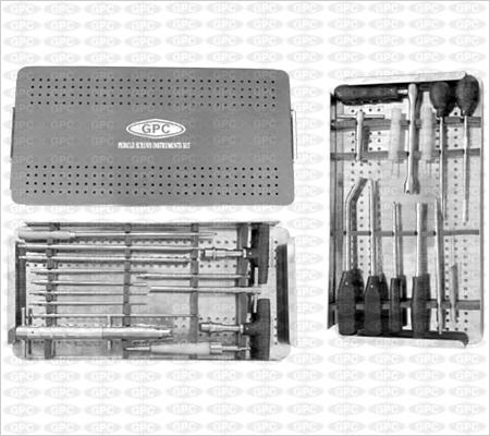 Boîte d'instruments pour colonne vertébrale, illustrée
