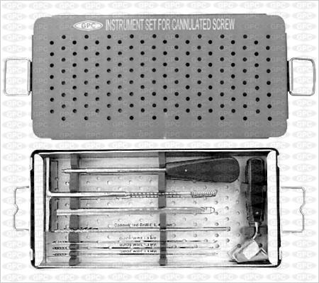 Boîte d'instruments pour vis d'os spongieux canulée, illustrée