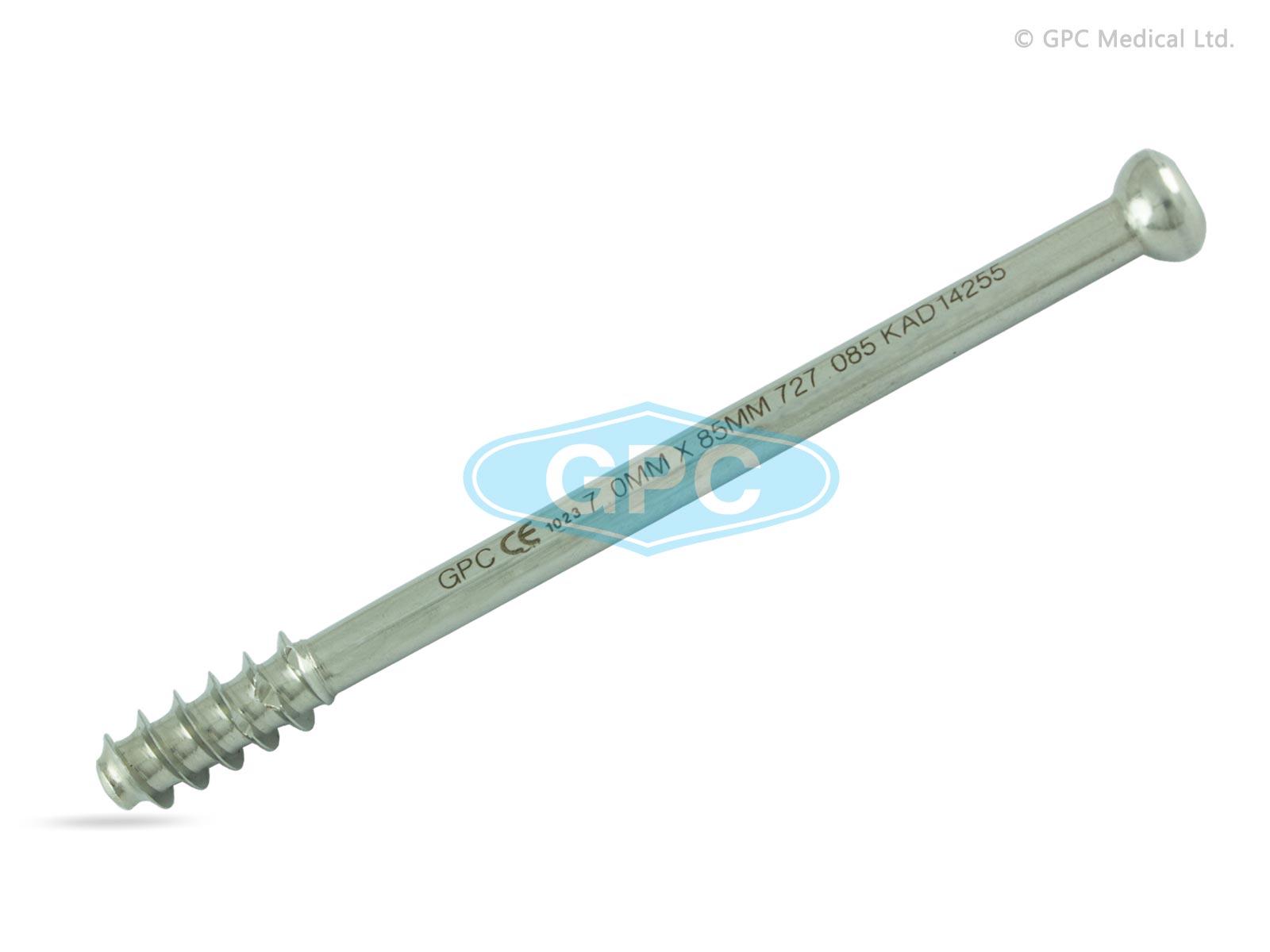 Grande vis d'os spongieux canulée 7,0mm, à tête creuse hexagonale, 16mm filetée.
